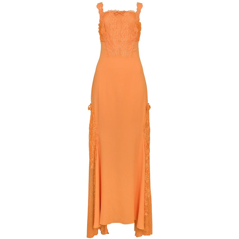 Vintage Gianni Versace Apricot Lace Runway Gown 1997  For Sale