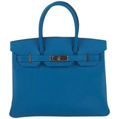 Hermes Blue Zanzibar Epsom Gold Hardware Birkin 30 Handbag