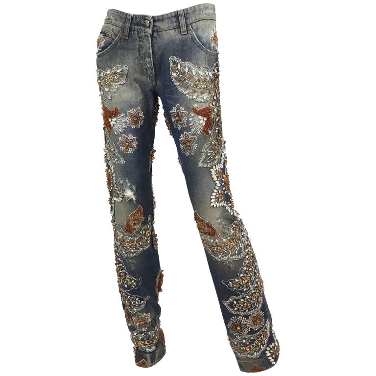 Dolce & Gabbana Heavily Embellished Jeans Spring 2005 Runway