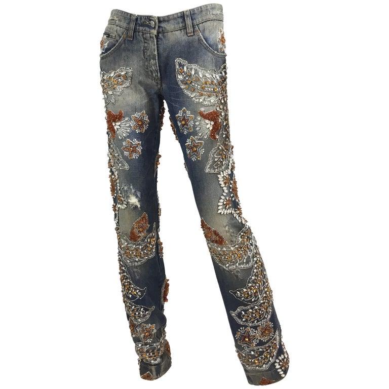 Dolce & Gabbana Heavily Embellished Jeans Spring 2005 RTW