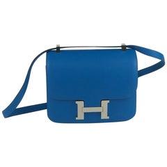 Hermes Blue Hydra Evercolor Phw Constance 24 Bag