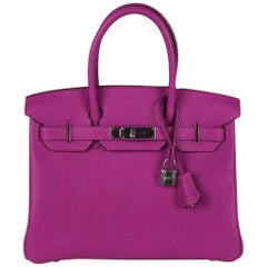 Hermes Magnolia Clemence Phw Birkin 30 Handbag