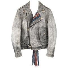 Facetasm Beige Distressed Leather Knit Panel Biker Motorcycle Jacket / Coat