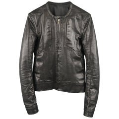 RICK OWENS 36 Black Leather Collarless Biker Jacket
