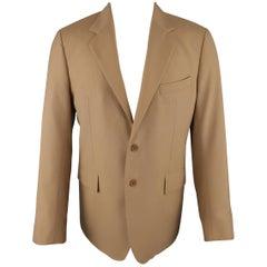 BALENCIAGA 42 Tan Wool Blend Two Button Single Breasted Sport Coat / Jacket