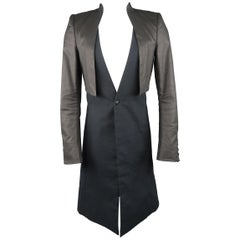 GARETH PUGH XS Black Deep V Coated Overlay Single Button Coat