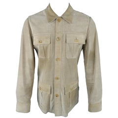 GUCCI by TOM FORD 38 Beige Perforated Suede Safari Pocket Jacket / Coat