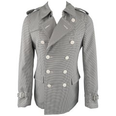 COMME des GARCONS M Black & White Houndstooth Double Breasted Trenchcoat Jacket
