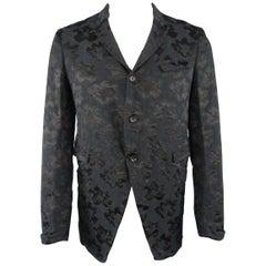 COMME des GARCONS M Black & Navy Jacquard 3 Button Jacket