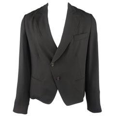 ANN DEMEULEMEESTER XXS Black Sheer Wool Cropped Peak Lapel Jacket