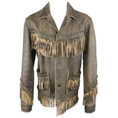 NICOLE FARHI M Taupe Distressed Leather Fringe Jacket / Coat