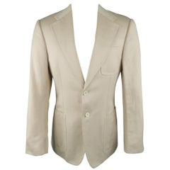 GUCCI by TOM FORD 38 Beige Solid Linen, Cotton -  Blazer / Sport Coat / Jacket