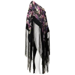 1970s Floral Print Silk Chiffon Poncho With Long Black Fringe