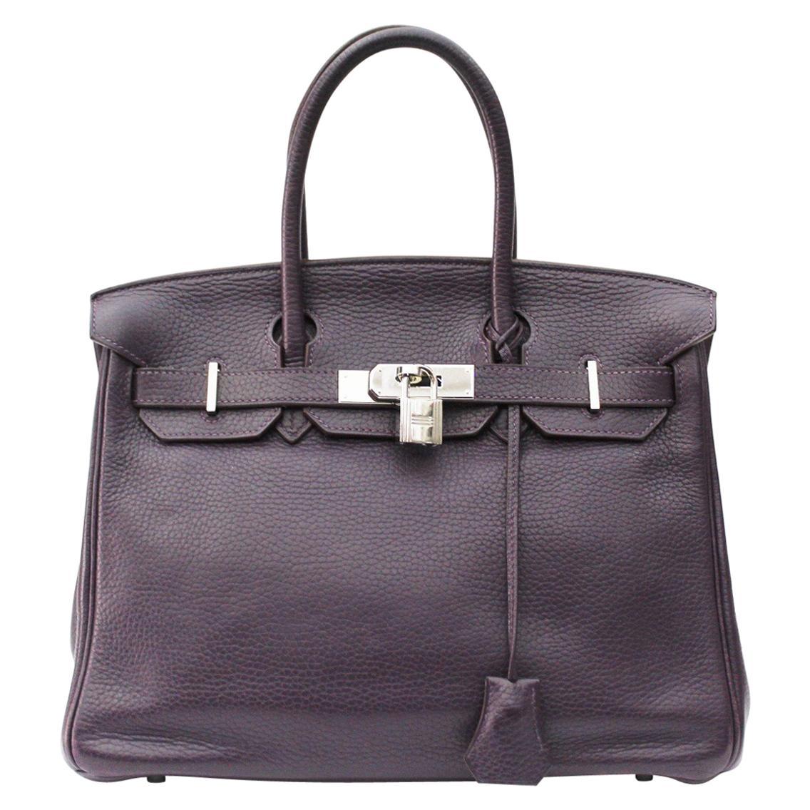 Hermes Togo Purple Leather Birkin 30 cm Bag