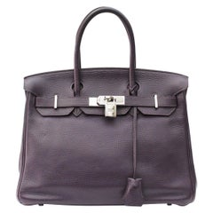 Hermes Togo Purple Leather Birkin 30 cm Bag