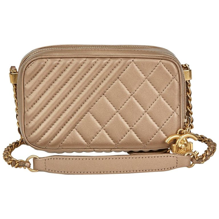 2015 Chanel Bronze Quilted Lambskin Small Coco Boy Camera Case