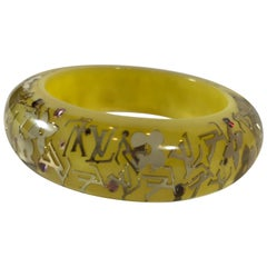 Louis Vuitton Yellow Gold Clear Resin Wide Inclusion Bangle Bracelet