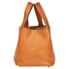 2011 Hermes Natural Bareina Leather Picotin PM