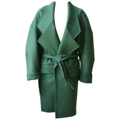 Balmain Green Wool Coat