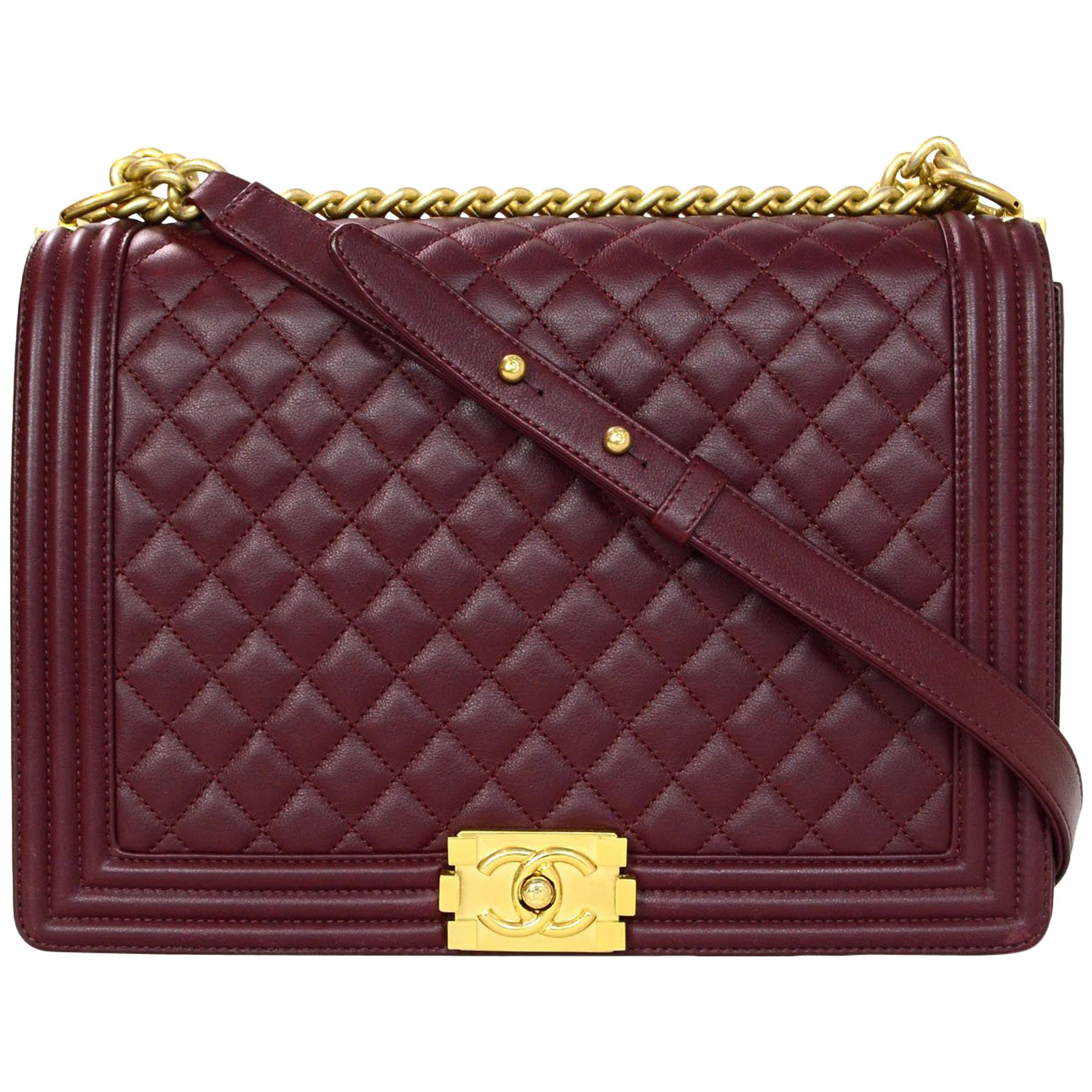 052b3a6bd9a7c0 Chanel Burgundy Quilted Lambskin Leather Large Boy Crossbody Flap