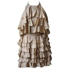 Balmain Ruffle Silk Charmeuse Dress