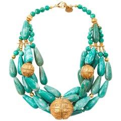 Yves Saint Laurent RIve Gauche Multi Strand Jadeite Necklace