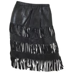 Tom Ford for Gucci Leather Cutout Fringe Skirt SS 1999