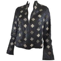 Rococo Leather Rhinestone Embellished Jacket