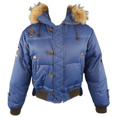 DSQUARED2 38 Blue Nylon Down Fur Trimmed Hood Parka Jacket