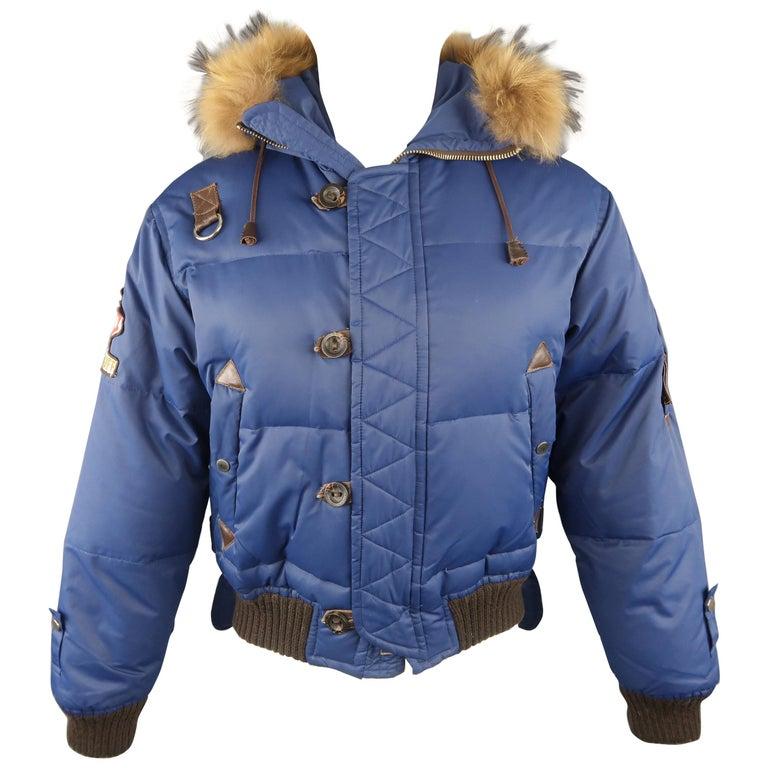 DSQUARED2 38 Blue Nylon Down Fur Trimmed Hood Parka Jacket