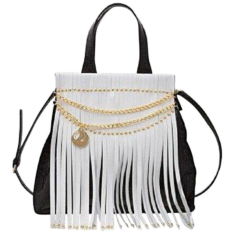 Feri Leather Black White Handbag With Fringe For