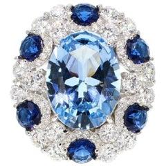950 Siledium Silver Rhodium Palladium blue Fashion Ring