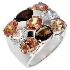 Siledium Silver Rhodium Palladium Plating Brown Stones Cocktail Ring