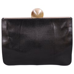 Desmo Black Lizard Clutch with Faceted Stone Clasp
