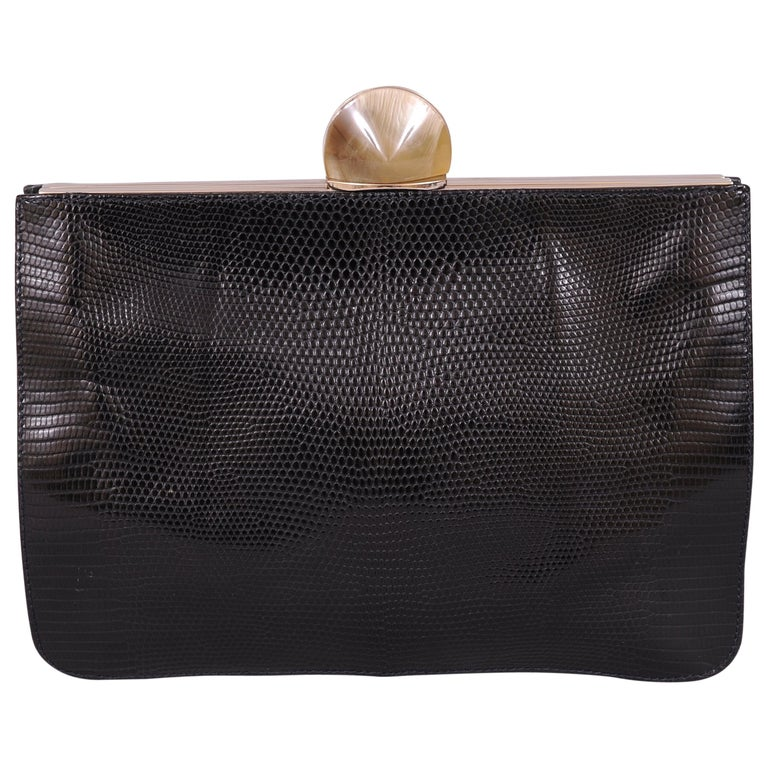 Desmo Black Lizard Clutch with Faceted Stone Clasp For Sale