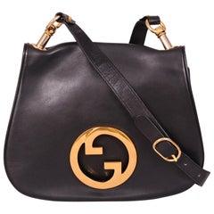 Gucci Black Leather Blondie Shoulder Bag, 1970s