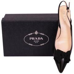 Prada Black Leather Kitten Heel Sling Backs Black Faille Bows Never Worn 10.5