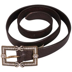 Ralph Lauren Diamante Belt Buckle and Italian Leather Belt - Never Worn