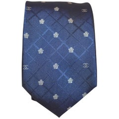 Chanel 1990s Silk Tie w/Iconic Logo and Camellia Flower Print
