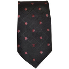 1990s Chanel Black Silk Tie with Red and White Chanel Logo and Camellia Print