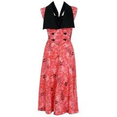 1940's Swimming Fish Novelty Print Black & Pink Cotton Halter Dress w/ Bolero