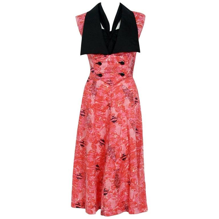 1940's Swimming Fish Novelty Print Black & Pink Cotton Halter Dress w/ Bolero For Sale