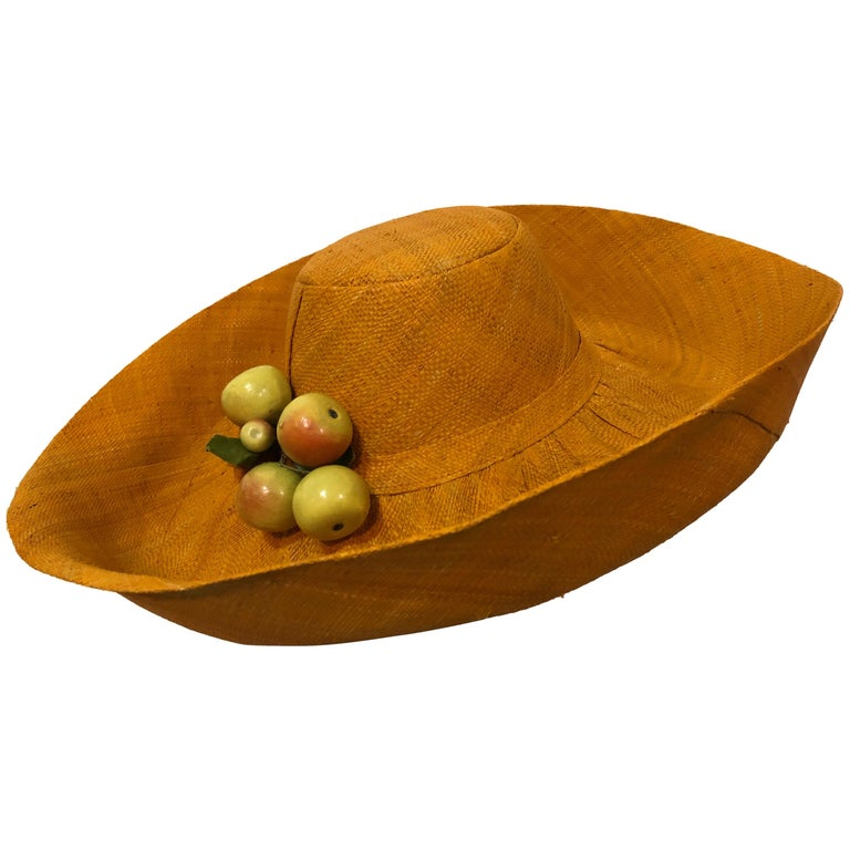 1960s Style Woven Orange Straw Hat With Dramatic Brim and Vintage Fruit Corsage  For Sale