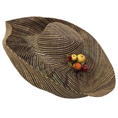 1960s Style Woven 2 Tone Straw Hat With Dramatic Brim & Vintage Fruit Corsage