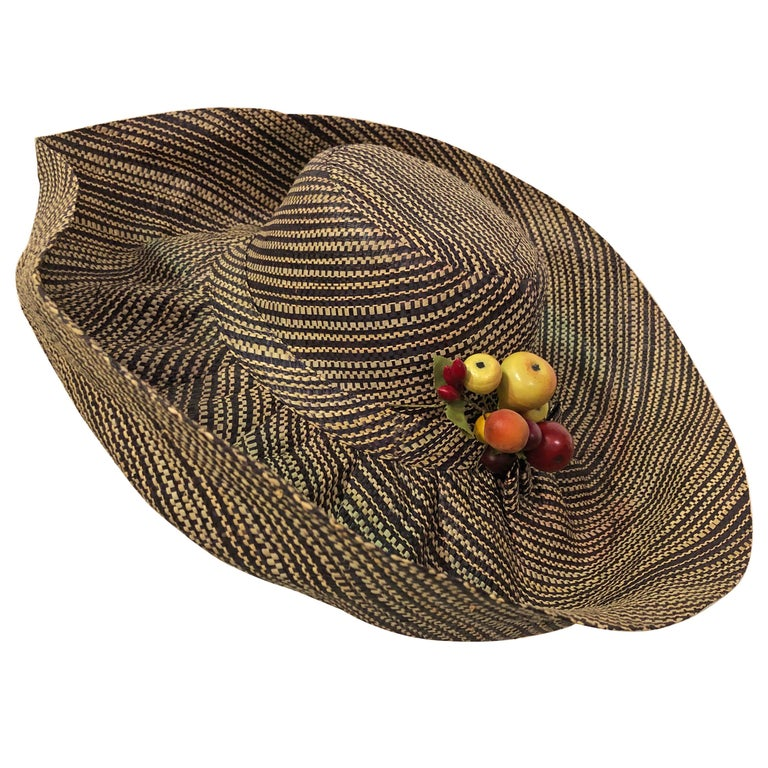1960s Style Woven 2 Tone Straw Hat With Dramatic Brim & Vintage Fruit Corsage  For Sale