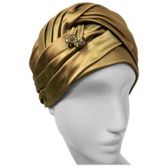 Christian Dior Golden Silk Satin Pleated Turban With Jewels, 1960s