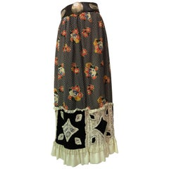 1970s Chessa Davis Folkloric Floral Print Maxi Skirt & Mexican Leather Belt
