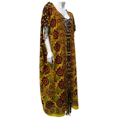 Indian Hand Block Print Cotton Kaftan with Leather Macrame and Wood Bead Trim