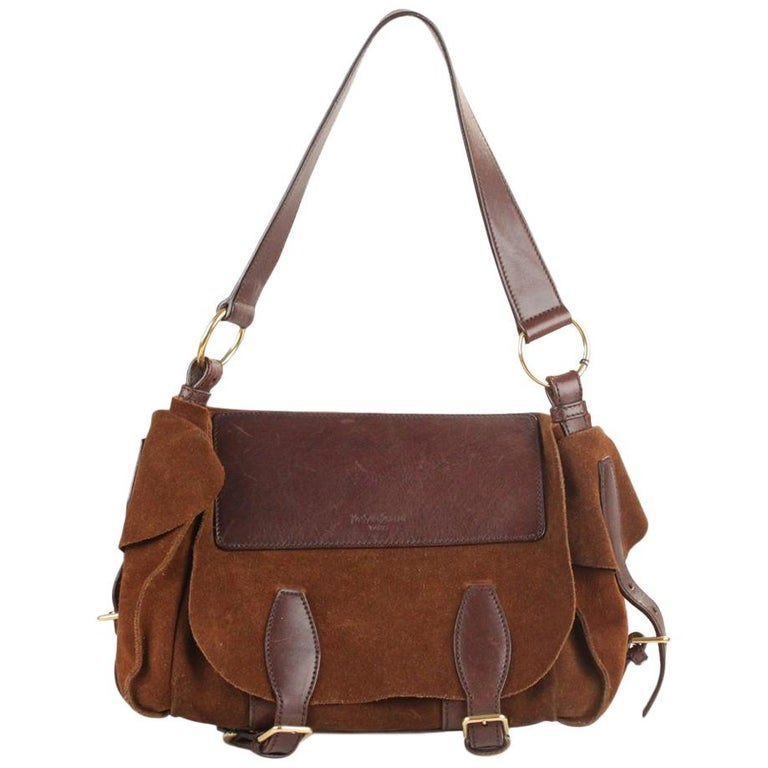 Yves Saint Laurent Brown Suede and Leather Shoulder Bag For Sale