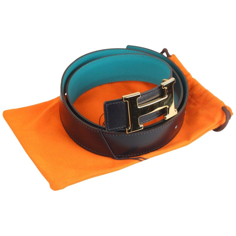 Hermes Teal and Blue Leather Reversible Belt with Gold Metal H-Buckle